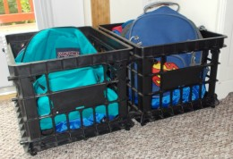 Milk crates can hold backpacks, lunchboxes and other items kids peel and dump when they get home from school.