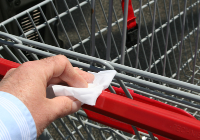 wipe off the cart rim, the basket area and the handles.