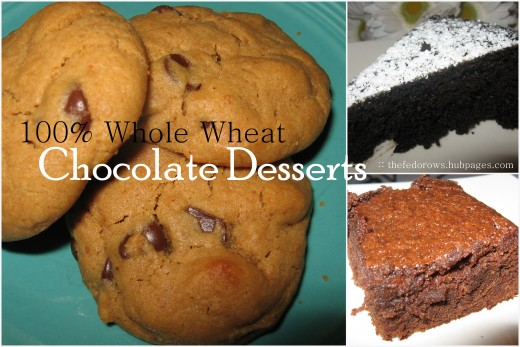 You won't feel like you are eating cardboard with these yummy 100% whole wheat desserts: warm peanut butter chocolate chip cookies, moist chocolate cake, and thick brownies.