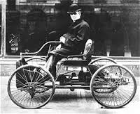 one of the first models that steered with a tiller instead of wheel