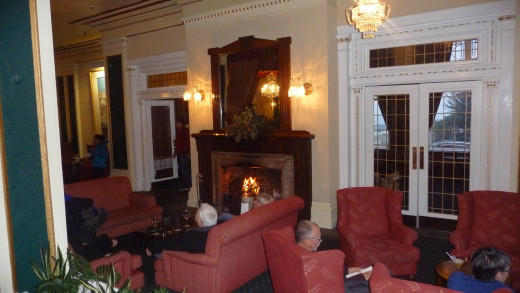 The open fire in the Lounge Bar