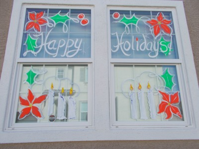 Residential window painting for the Christmas Holiday Season