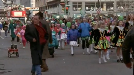 Tommy Lee Jones searches for Harrison Ford in The Fugitive on St. Patrick's Day