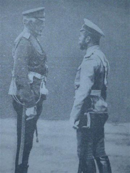 The Tsar with Grand Duke Nicolas, whose brilliant generalship has crushed the Austrian field forces.