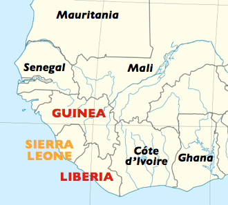 A map of the spread of the 2014 West African ebola outbreak