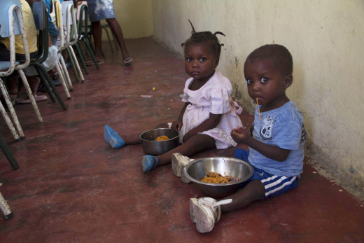 The nutrition center is packed with children around lunch time, looking to get one balanced meal a day.