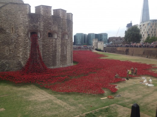 The Tower of London with just a tenth of the 880,000 poppies installed.