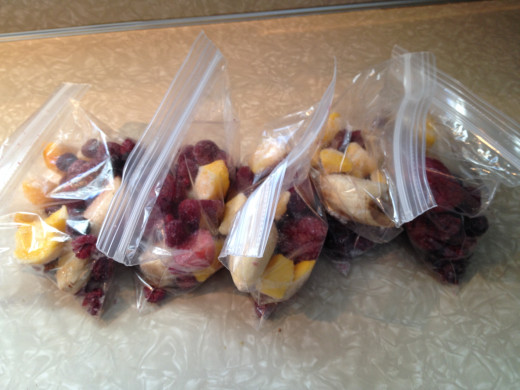 Preparing a week's worth of bags of the fruit for the smoothie makes it that much easier to make it quickly in the morning.