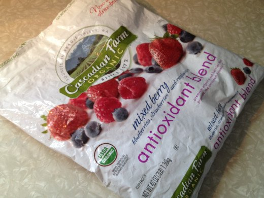 Any kind of frozen berries are fine, but I love this mix from Costco.