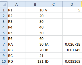 Branch Currents IA and IB. IA = (RB / (RA + RB)) * ID and IB = (RA / (RA + RB)) * ID.