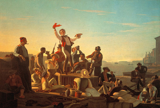 a photo of a painting by George Caleb Bingham. shows riverboatman on a flarboat.