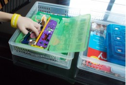 Homework supplies are easy to find in an at-home pencil box.