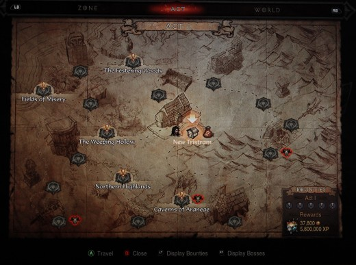 The Adventure Mode map let's you travel to the different waypoints to complete bounty missions for loot, gold, experience, and for bard's to write songs of your many exploits!