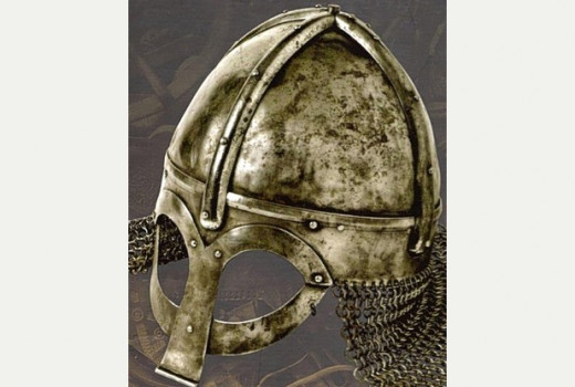 A helm fit for a jarl or a king, chain mail neck guard wards off glancing blows from behind