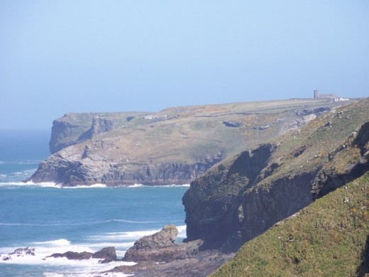 """Treligga cliffs and beyond - geograph.org.uk - 1241656"" by William Bartlett - From geograph.org.uk."