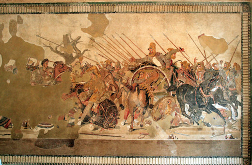 The Alexander Mosaic, currently displayed in the National Archaeological Museum in Naples.