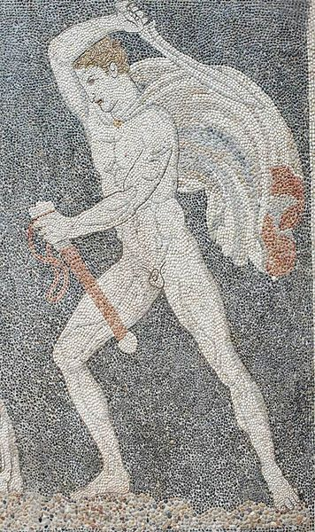 A youthful Alexander hunts a lion on a mosaic in the archaeological museum in Pella.