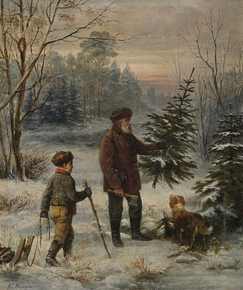 Father and son with their dog finding a Christmas tree