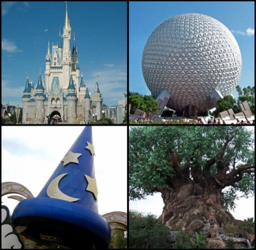 L to R: Cinderella's Castle at Magic Kingdom, Ball at Epcot, Mickey's Sorcerer Hat at Hollywood Studios, Tree of Life at Animal Kingdom