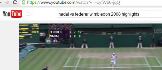 "ABOVE: Fifth set at Wimbledon, where they play an advantage set in the fifth. It's 8 games to 7, Nadal ""serving for the match"" with a score of Love-15."