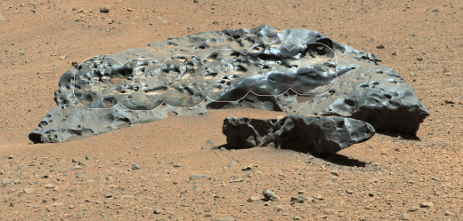 "Mars Curiosity rover encounters an iron meteorite, two meters wide, named ""Lebanon"" on May 25, 2014"