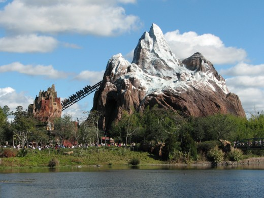 Expedition Everest in Epcot. Explore the mountain peaks of the Himalayas to catch a glimpse of the elusive enormous yeti.