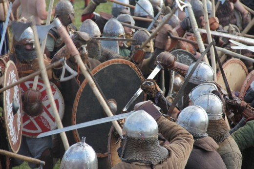 Battling the Saxons, shield-walls collide - could be at Ashingdon or Maldon, or any one of a thousand confrontations between the 9th-11th centuries