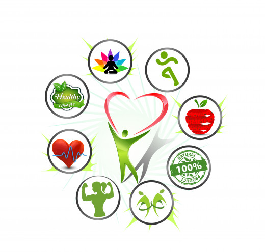 Holistic View of Health Colorful Diagram with Circles Surrounding Green Human Outline with a Red Heart