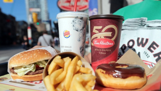 Burger King lunch and Tim Hortons breakfast
