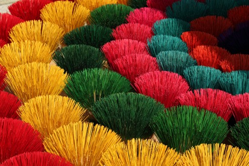 Incense sticks are available in a wide range of colours and fragrances.