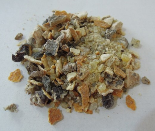 An example of a loose incense blend made using natural materials.