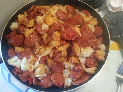 Chorizo and Bacon Gnocchi in the pan