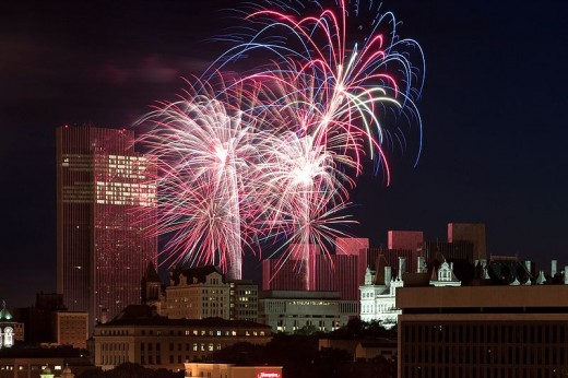 Fireworks over Empire Plaza in Albany