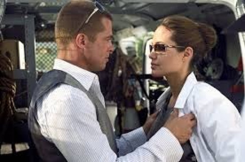 Brad Pitt and Angelina Jolie starred together in the popular film Mr. and Mrs. Smith. Both are assassins but the other doesn't know this. To make matters worse they are married.