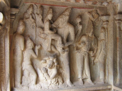 A Sculpture Dipicting a Mythological Story Found in Mamallapuram