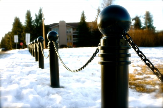Snowy bollards at St. Mary's University