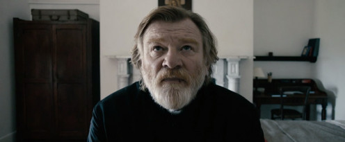 "Father James (Brendan Gleeson) prays at a pivotal moment in ""Calvary""."