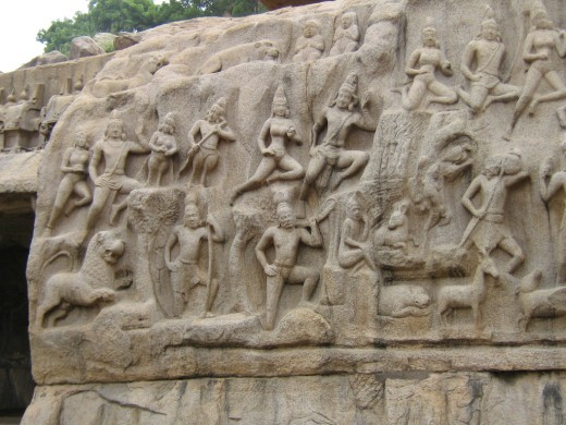 "A Part of a Relief Sculpture Named ""Arjuna Thapas"" in Mamallapuram"