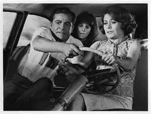 """Oh, Tom! I can't drive this!"" Jeanne Crain cries as Dana Andrews takes the wheel while daughter Laurie Mock looks on"