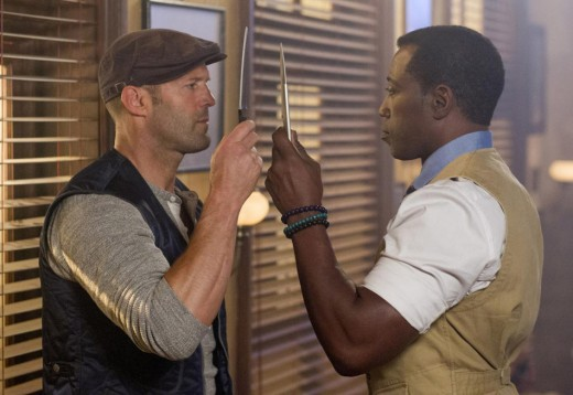 "Statham: ""You see? I told you my knife was longer than yours!"""