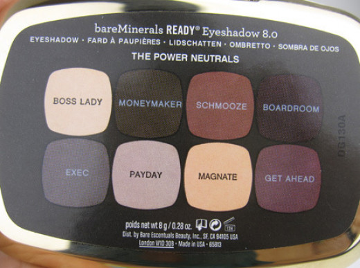The colors contained in the Eyeshadow palette Ready Eye Shadow 8.0 The Power Neutrals, Bare Minerals by Sephora.