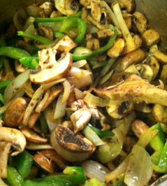 Next comes the peppers and mushrooms.