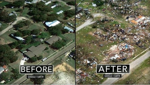 Before and After a Tornado in Texas.