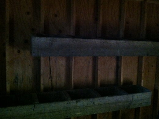 My old cattle feed boxes turned nesting boxes! Re-purposing keeps it frugal and cheap for nesting boxes.