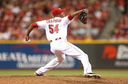 Aroldis Chapman can throw a fastball as high as 105 MPH!  The fastest of all time