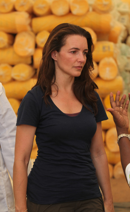 Actress Kristin Davis in Oxfam warehouse in Dadaab, Kenya. 08 July 2011