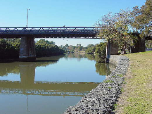 This is the old gasworks bridge at Parramatta, a city within a city fifteen miles east of the Sydney CBD.