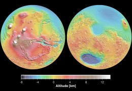 Ouch. The Mars Orbiter's topographical relief maps reveal the ancient scars of the Borealis (north, light blue) and Hellas (south) Basins.