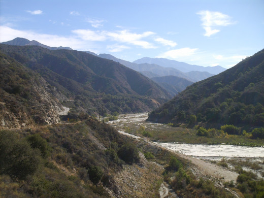 Near the San Gabriel Reservoir, looking North towards East Fork Road.