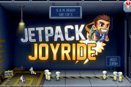 The title screen of Jetpack Joyride also incorporates the first part of the game!